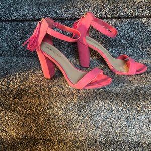 Cute Suede Fuchsia Pink Sandals w/Tassel Accent